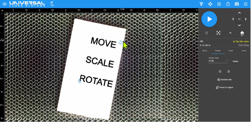 <i>Design file rotated using controls in the LSM. In this example, the design file was rotated clockwise to match the rotation of the material.</i>
