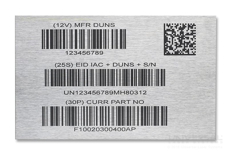 Stainless Steel Laser Marking Barcodes with a 1.06 micron Fiber Laser