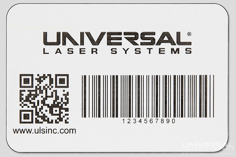 Polyonics Markable White/Black Label Material Laser Marking with a 10.6 micron CO<sub>2</sub> Laser and Laser Cutting Using MultiWave Hybrid™ Technology