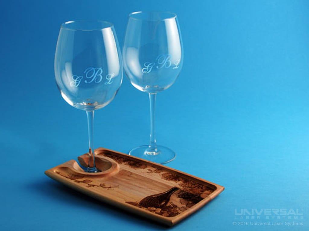 Verres de vin marqués au laser