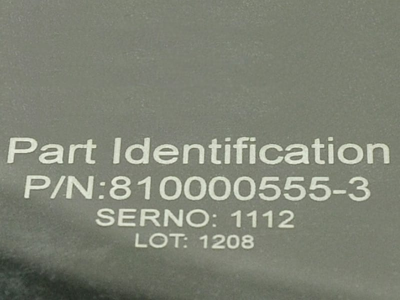 Part ID Number Laser Marked on 3M GLR320 Protection Film