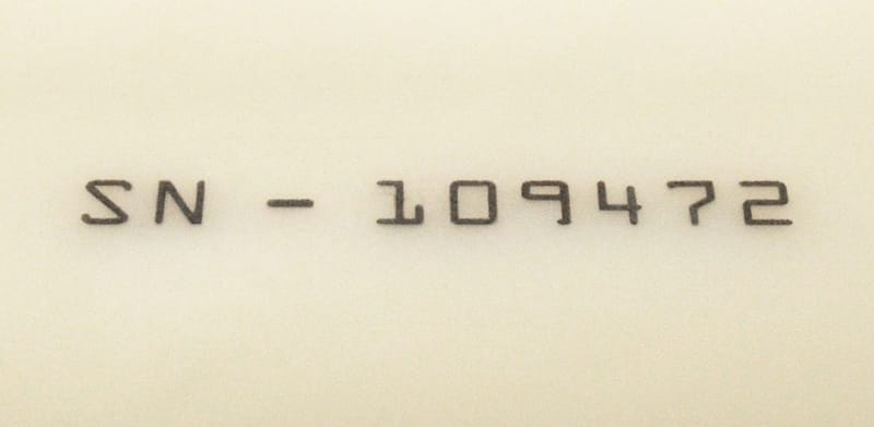 Halar® Laser Surface Marked with Serial Number
