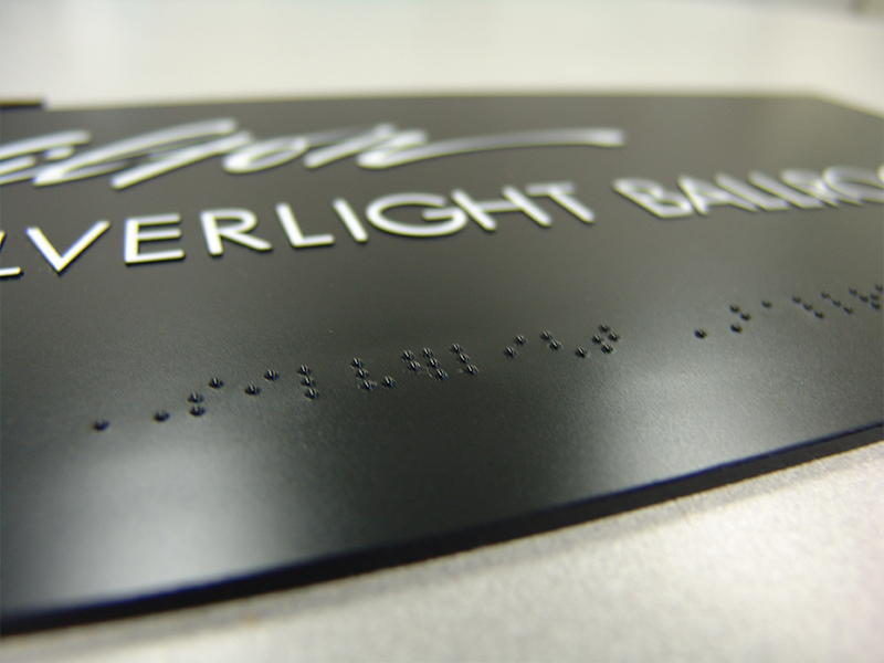 Microsurface Plastic Pre-Piloted Laser in Braille Lettering