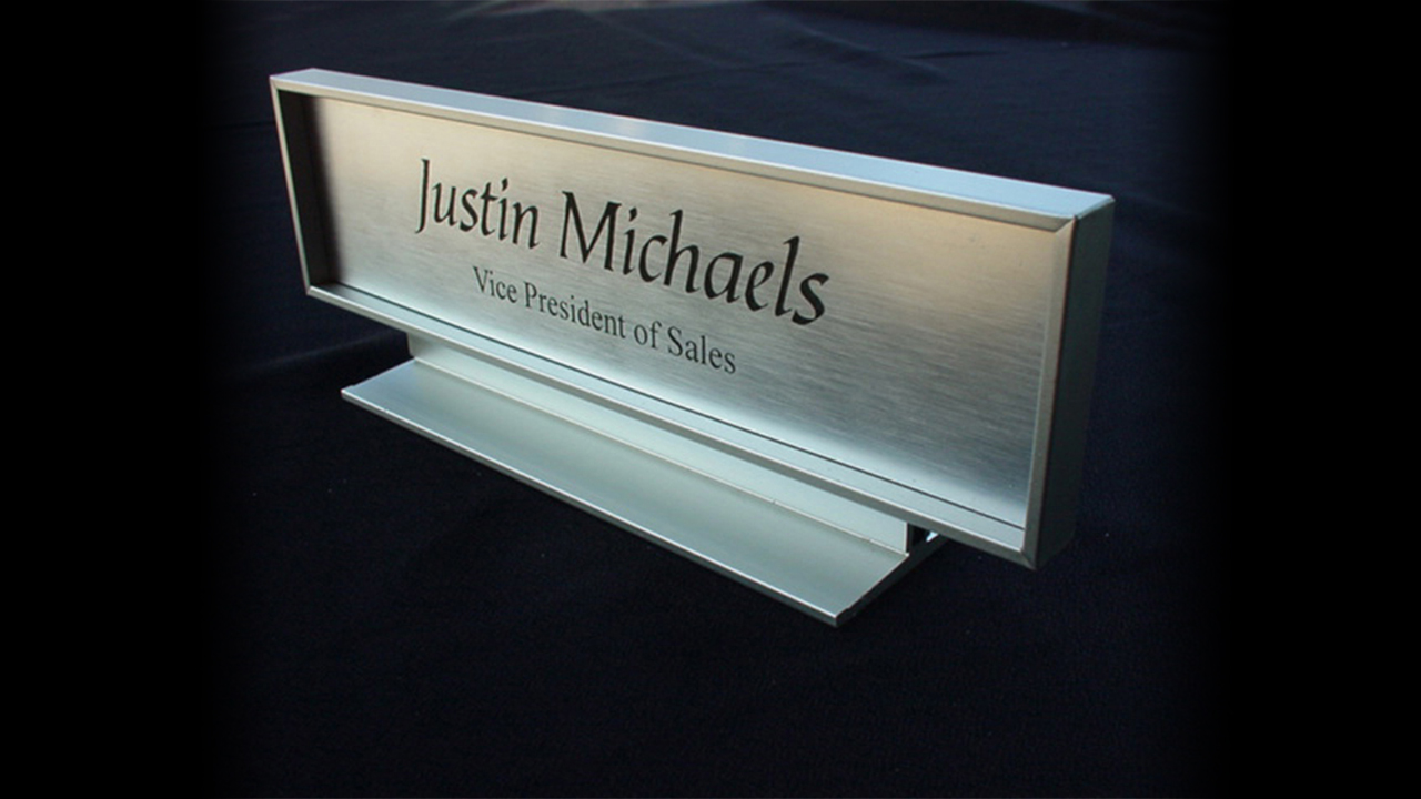 Microsurface Plastic Laser Engraved Name Plate with Faux Metallic Aluminum Finish