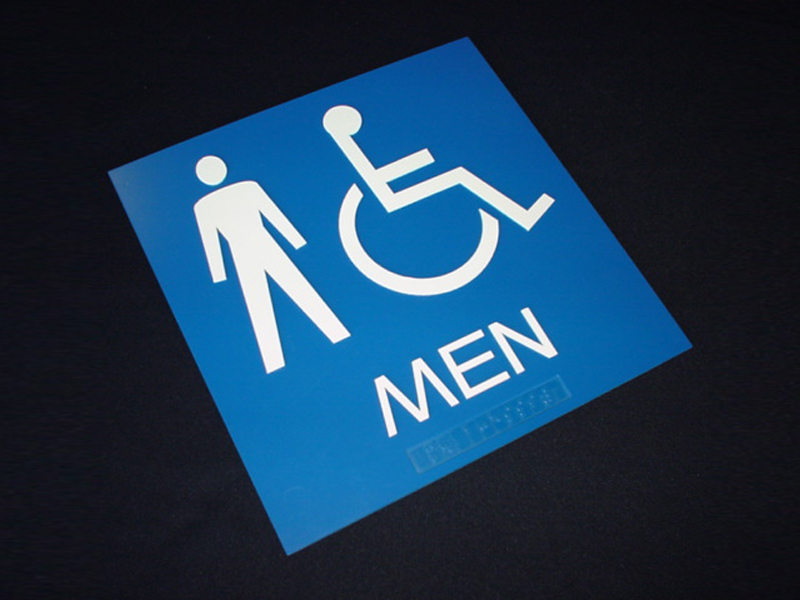 Microsurface Plastic Laser Engraved Braille Lettering on Restroom Sign