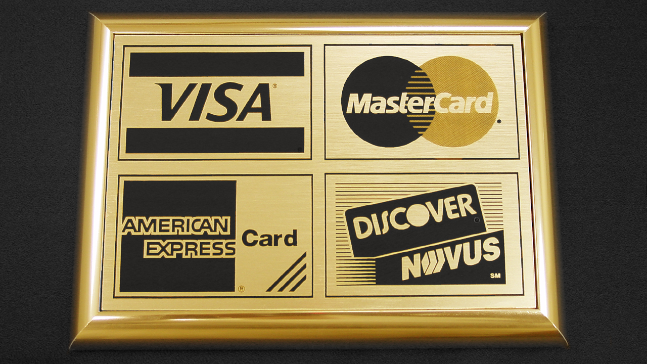 Microsurface Plastic Laser Engraved Store Window Credit Card Sign