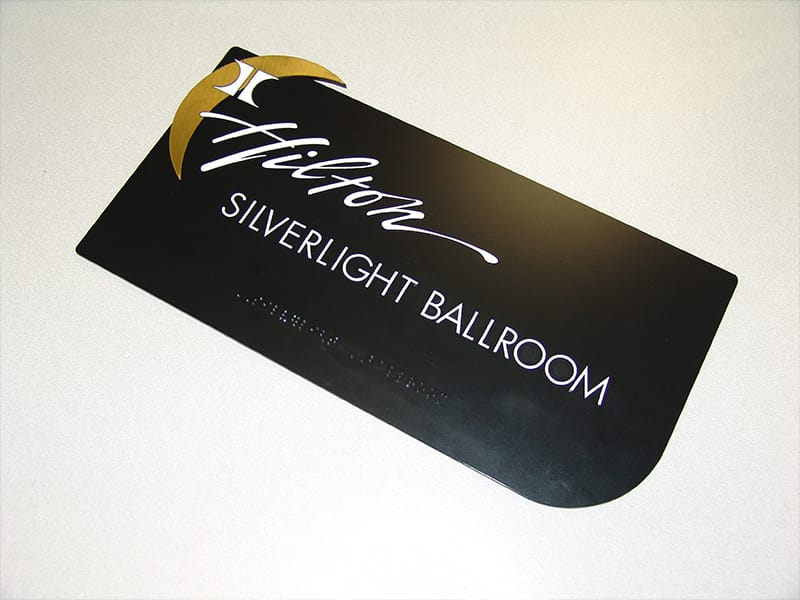 Microsurface Plastic Laser Engraved Braille Lettering on Hotel Ballroom Sign