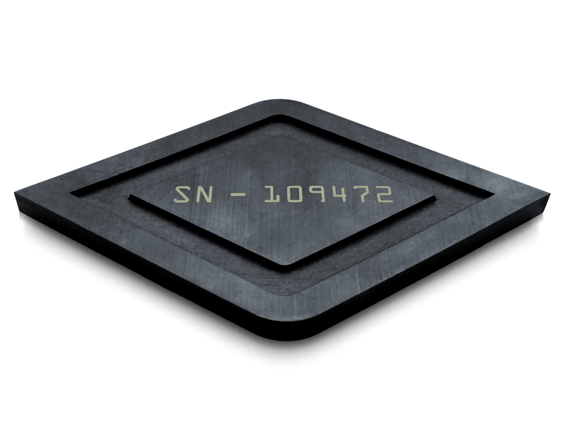 Black Teflon® Laser Cut Diamond Shaped with Channel Engraved and Serial Number Marked on Surface