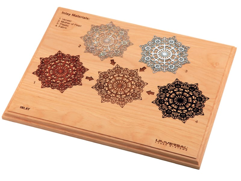 Wood Inlay Board with Various Laser Cut Materials