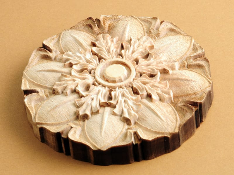 3D Laser Engraved and Cut Flower Design from Wood Close Up