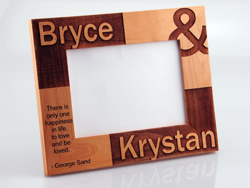 Wood Picture Frame Modified by Laser Engraving Close Up