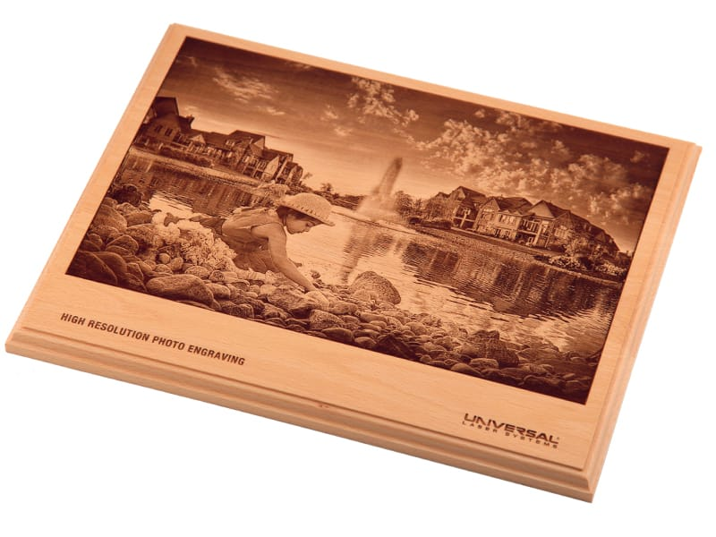 High-Resolution Photo Laser Engraved into Wood Plaque