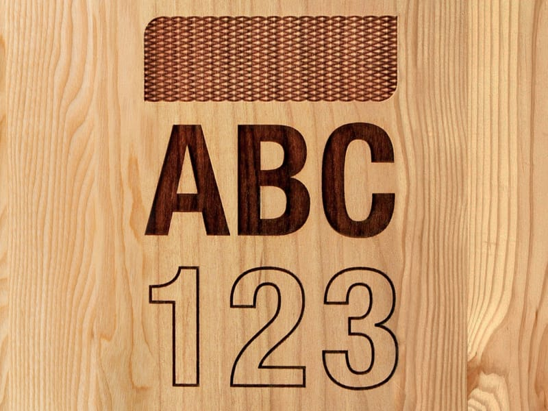 Laser Engraved Diamond Pattern Letters and Numbers in Wood