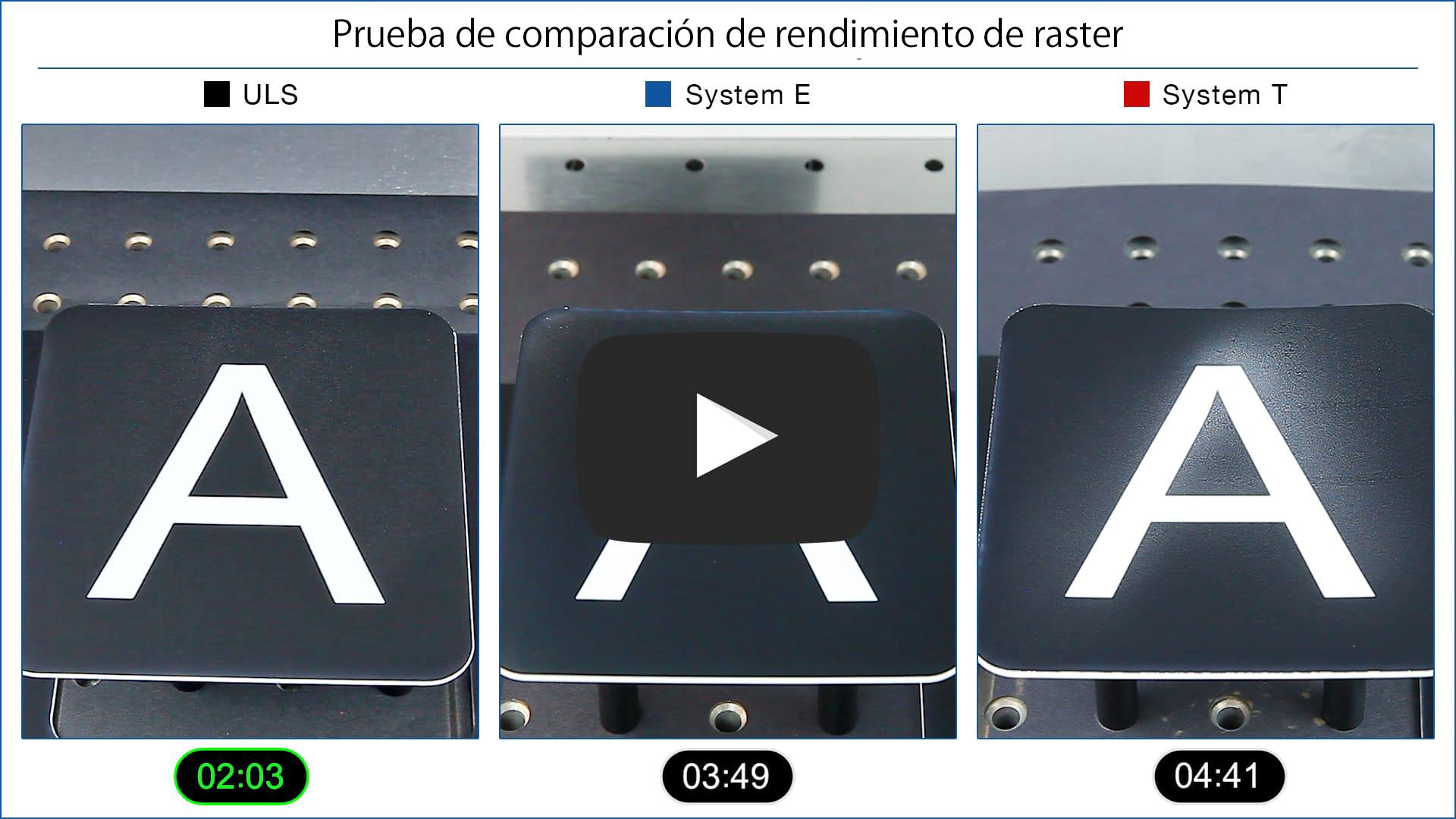 Video de comparación de rendimiento de raster láser