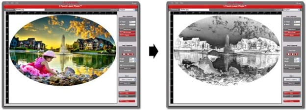 Selecting material from drop-down menu to automatically apply bitmap filter and image enhancements