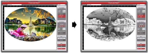 Selección de material del menú desplegable para aplicar automáticamente filtros de mapa de bits y mejoras de imagen