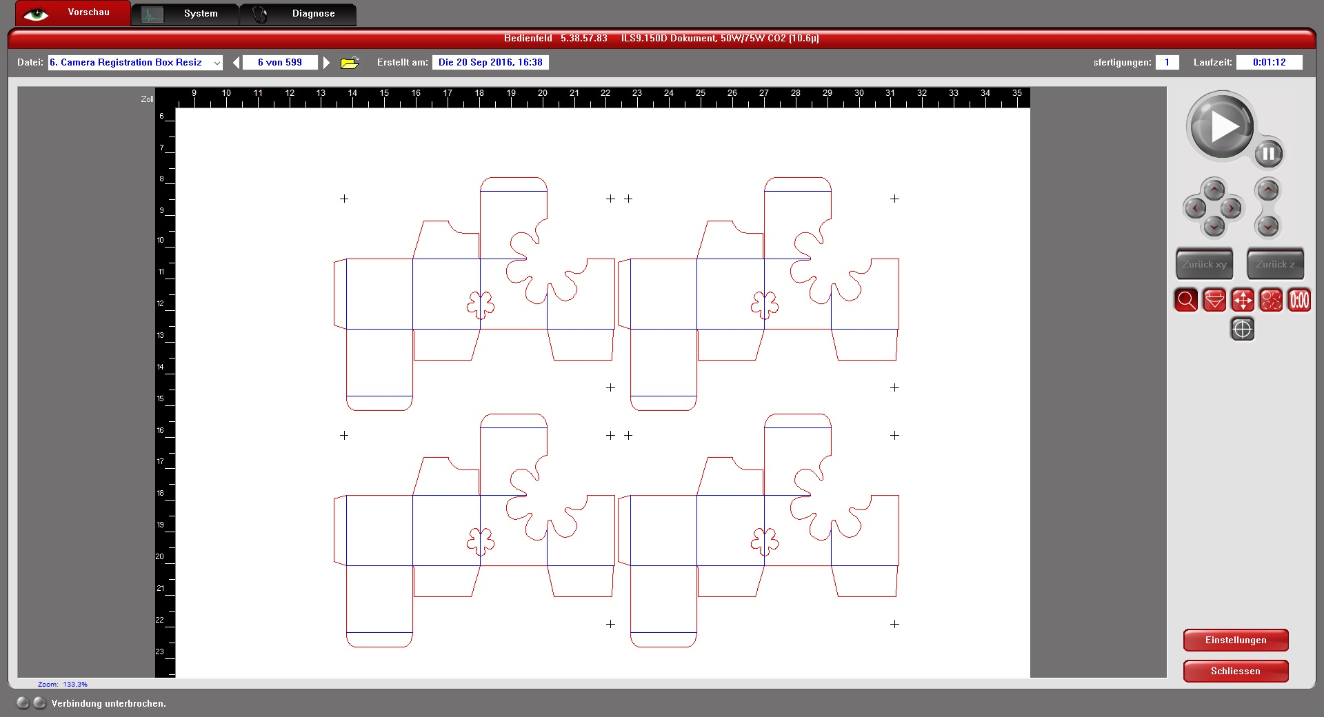 Die Lasersystem-Software mit vier Exemplaren eines einzigen, durch Duplikation erzeugten Kameraregistrierungsprozesses, wie am XLS-System dargestellt